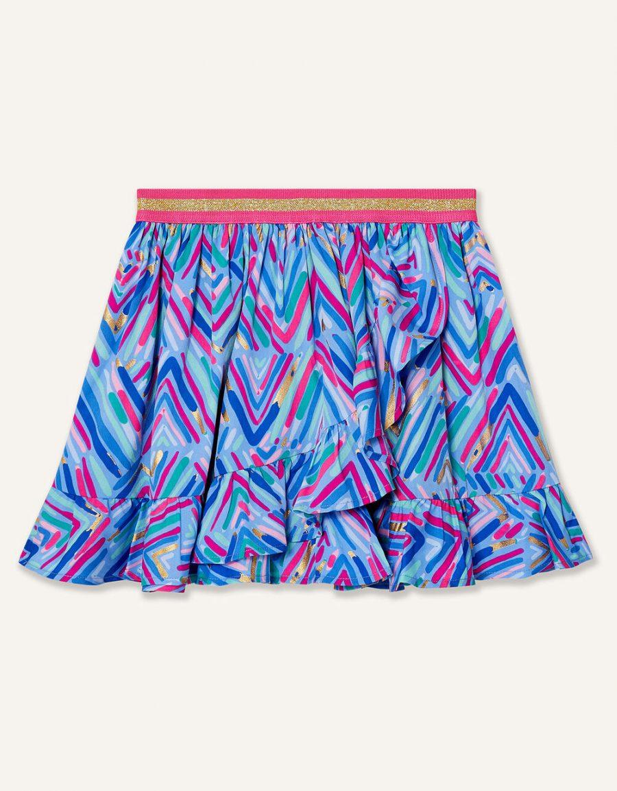Chevron foil print skirt blue1