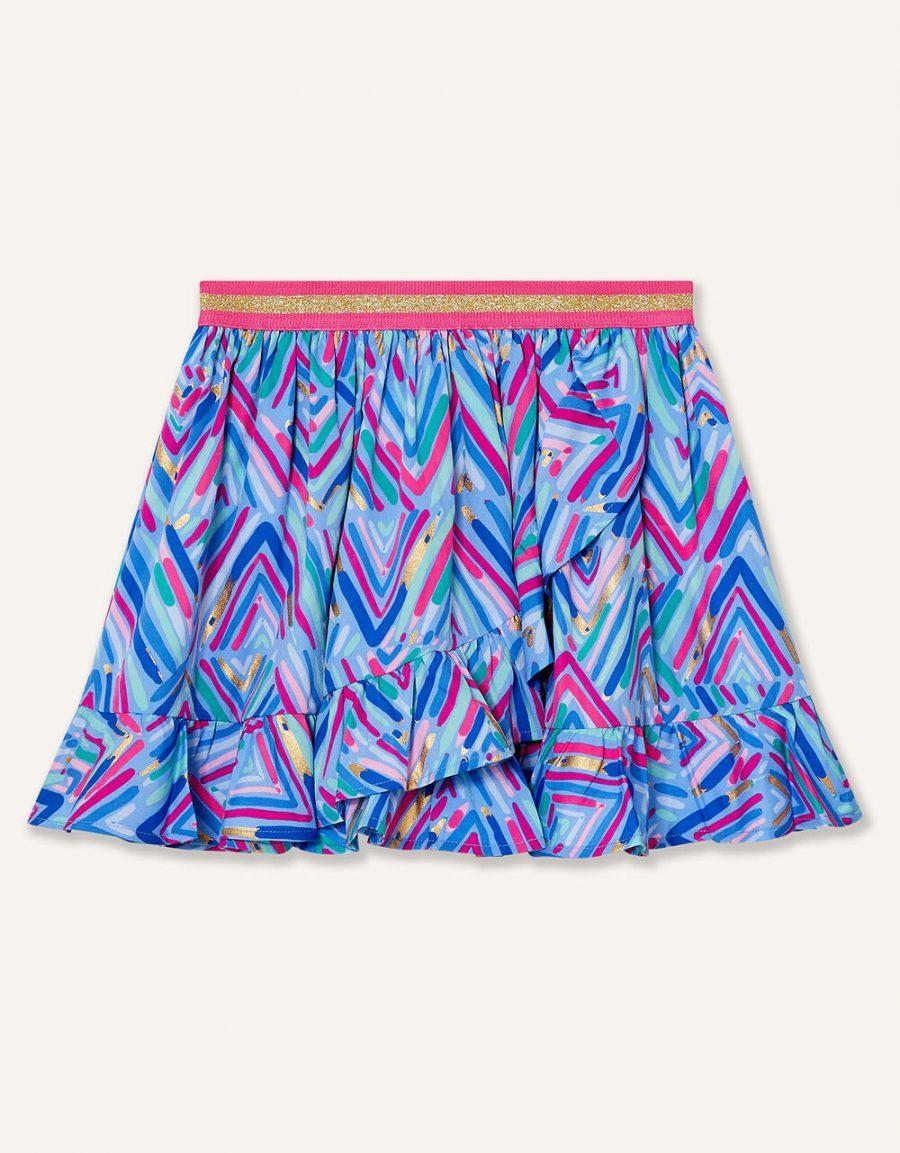 Chevron foil print skirt blue2