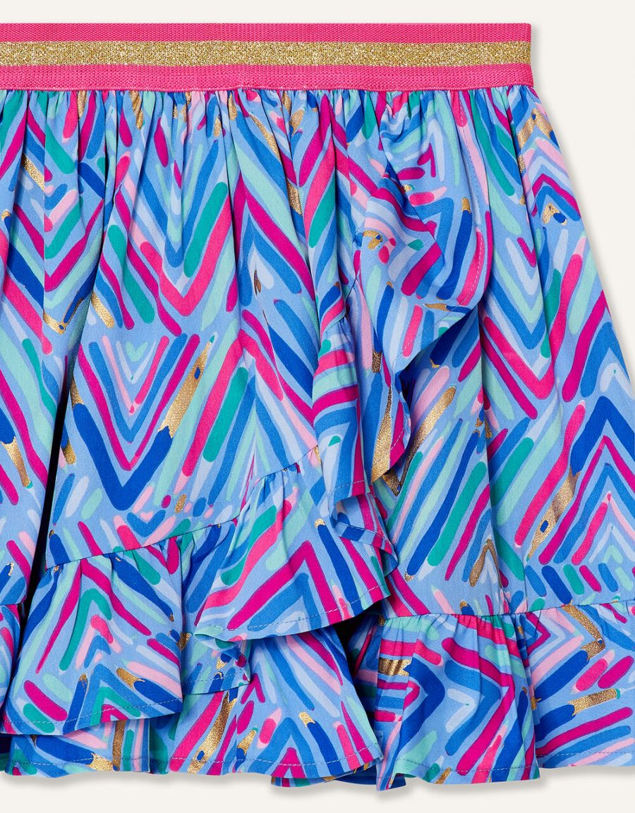 Chevron foil print skirt blue3